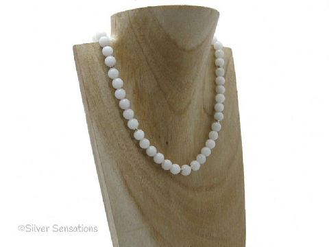 Snow White Jade & Sterling Silver Necklace